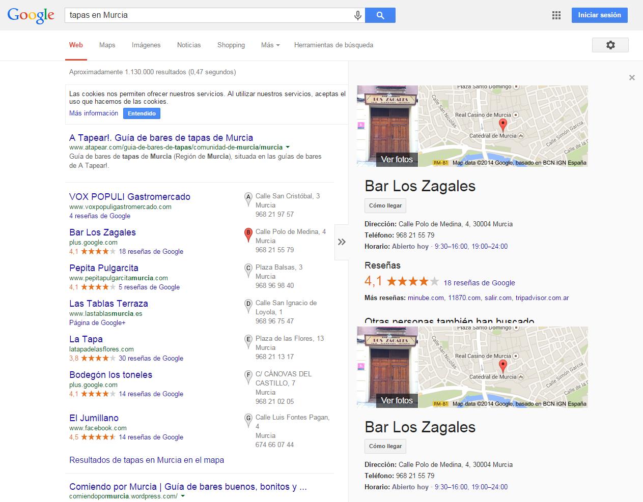 Ejemplo de posicionamiento web en Murcia - Marketing online Murcia